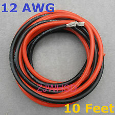 12 AWG 10 Feet (3m) Gauge Silicone Wire Flexible Stranded Copper Cables for RC