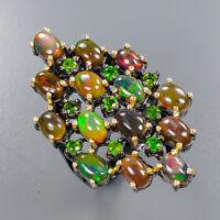 Black Opal Ring Silver 925 Sterling Gemstone Jewelry Size 7.5 /R136561