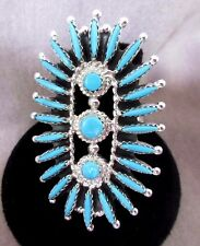 Zuni Turquoise Petit Point Sterling Silver Ring - Size 8.5 - Gerard Etsate  JR18