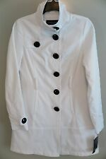 NWT Black Rivet Long White Cotton Blend Trench Coat Jacket Size S MSRP $160