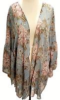 UMGEE Maxi Kimono Cardigan Women's Bell Sleeve Flowy Long Jacket S/M,M/LG Nwt