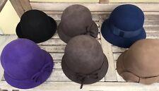 Six Wholesale Soft Felt 100% Wool Cloche Flapper Hats - High Quality $144 Value
