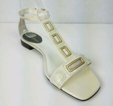 Cole Haan Womens Size US 6.5 Isabelle Leather Sandal T-Strap Cream Buckle Ankle