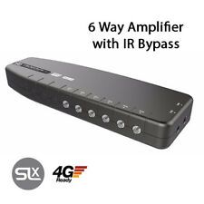 6 WAY aerial amplifier with IR Bypass magic eye signal booster TV FM DAB amp SLX