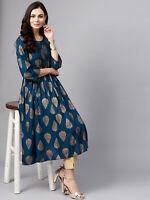 Teal Blue & Golden Printed A-Line Anarkali Kurta Indian Kurti Dress Tunic