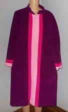 Vintage Vanity Fair Purple Pink Striped Fleece Front Zip Cozy Peignoir Robe 40