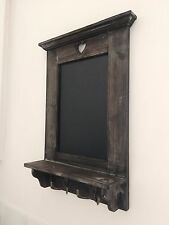 Wooden Heart Chalk Board Message Memo Notes Blackboard & Shelf With Metal Hooks