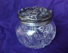 Vintage Cut Glass Dresser Vanity Powder Jar w/ Sterling Lid