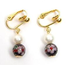 Genuine White Pearl & Black Cloisonne 14K YGP Clip On Earrings