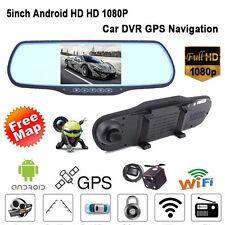 5'' HD 1080P Android GPS WIFI Car DVR Rear View Mirror Dual Lens Dash Camera UK