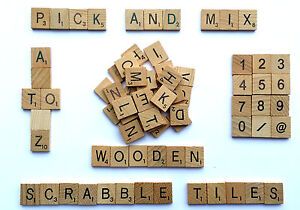 Wooden Pick And Mix *CHOOSE YOUR OWN* Scrabble Letters Tiles & Numbers 0-9@&/-
