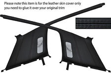 BLACK LEATHER 2X REAR C PILLAR LEATHER COVER FITS VW GOLF MK3 JETTA 91-98 5 DOOR