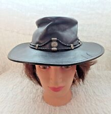 Minnetonka Black Leather Silverthorne Aussie Hat Small Foldable Metal accents