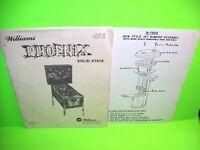 Williams PHOENIX 1978 Original Flipper Game Pinball Machine Service Info Manual