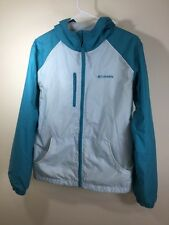 Columbia Rain/Wind Breaker Green and light green Youth 18/20 with hood full zip
