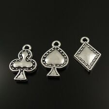 60X  Antiqued Silver Tone Assorted Poker Suits Pendant Findings Charms 15*12mm