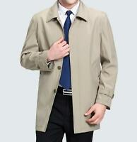 Mens Retro Coat Jacket Trench Long Autumn Casual Father British Outwear M-4XL