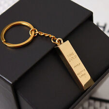 Metal Faux Gold Bar Ingot Bullion Keychain Key Chain Keyring Keyfob Party FK