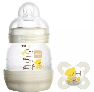 3 MAM Baby Bottles 4oz Matching Pacifier Anti Colic Self Sterilizing Newborn Set