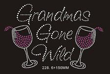 Wine Rhinestone iron on Bling Transfer DIY Hot fix Applique Grandmas gone wild