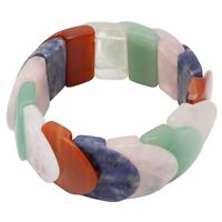 Multicolor Armband aus Bergkristall Achat Karneol Jade Rosenquarz Sodalith