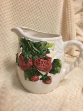 STRAWBERRY PITCHER - White, Red, Green China Stoneware/Earthenware VINTAGE