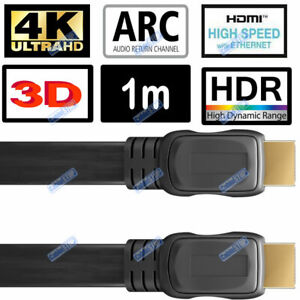 1M 4K ULTRA HD FLAT HDMI + ETHERNET LEAD HDR HEC ARC 2160p TV UNDER CARPET CABLE