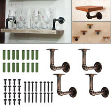 4x Vintage Industrial Iron Pipe Shelf Bracket DIY Tube Rack Floating Scaffolding