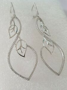 Exquisite White Stones Micro-setting Long Drop Earrings 925 solid silver #1196