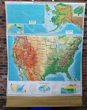 Vintage Denoyer-Geppert mid-century United States pull down School map Relief