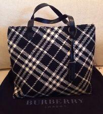 12fc4ebbf942 Authentic Burberry London Satchel Handbag Nova Check Wool Leather Black