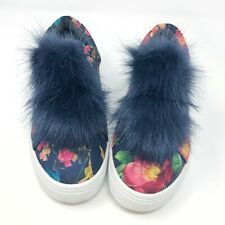 5b18e6896dd985 SAM EDELMAN 6.5 Leya Pom Sneakers Faux Fur Floral Print Navy Platform Slip  Ons