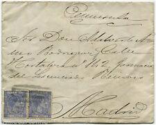CARIBBEAN, ENVELOPE SENT IN 1879, 2 STAMPS 1879 X 25 CS. PESETAS EACH          m