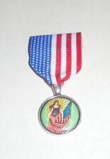 Lady Liberty Freedom Immigration Patriot Medal Badge Pin Usa July Parade Rally X