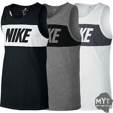 Nike Mens Grey Black Vest Retro Big Logo Sports Gym Sleeveless Tank Top L XL