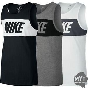 Nike Mens Grey Black Vest Retro Big Logo Sports Gym Sleeveless Tank Top