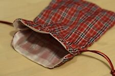 Large Red Plaid Fabric Gift Bag Game Dice Bag Fabric Lining Counter Pouch Strips