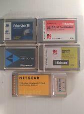 New listing Assorted pc cards-lot of 5- netgear, us robotics, linksys, etherlink Iii.