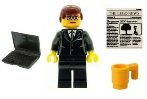 LEGO Business Man Office Worker Minifig with Laptop Cup & Newspaper Tile NEW