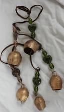 String of Five Large Indian Metal Cow Bells / Door Alarm / Hanging / Mobile