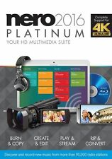 NERO 2016 PLATINUM MULTIMEDIA CREATE CONVERT BURN BLU-RAY 4K ULTRA HD SEALED NEW