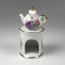 3 Piece Miniature Limoges Teapot Warmer HP Accents Colonial Courting Couple Mini
