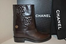 NIB CHANEL Dark Brown Leather CAMELLIA CC Moto Biker Ankle Boots Flower 41 - 11