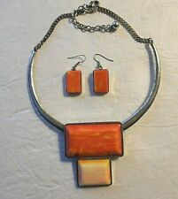 Costume Jewelry Matching Necklace And Ear Rings, Metal And Coral Color
