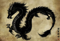 Chinese Dragon Painting Oriental Quality Canvas Print A4