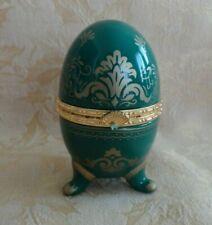 Avon Collectible 2000 Porcelain Hinged Egg w/ quartz Clock Emerald Green W/ Gold