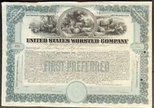 UNITED STATES WORSTED CO. Stock 1913. MA. Famous Woolen Mills. Beautiful ABNC VF