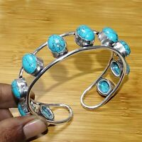 """925 Sterling Silver Overlay Turquoise Stone Bangle Cuff Bracelet Jewelry 2.75 """""""