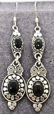 """Vintage CW Sterling Silver Black Onyx Dangle 2.25"""" Southwestern Pierced Earrings"""