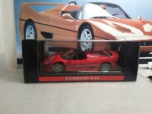 MAISTO / SHELL COLLECTION  - FERRARI F50 - RED  - 1/18 SCALE MODEL CAR -